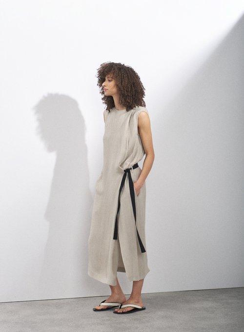 Hidden-belt pleat-front dress by Raey