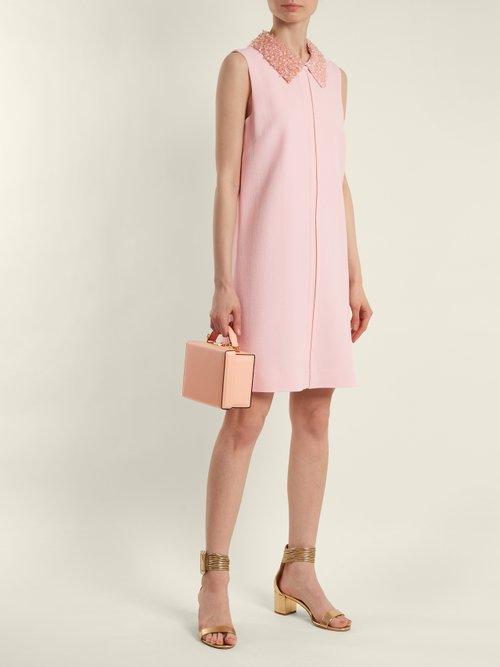Shop Goat Fame bead-embellished wool-crepe dress online sale