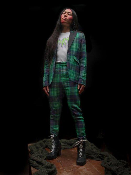 Pammy Tartan Contrast Lapel Blazer by Charles Jeffrey LOVERBOY