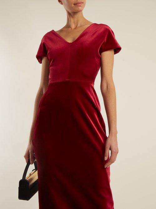 Tamara Dartelle V-neck velvet gown by Emilio De La Morena