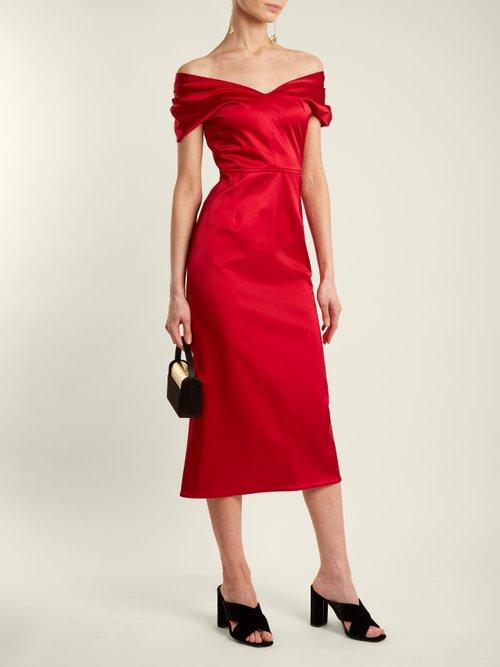 Tamara off-the-shoulder duchess-satin dress by Emilio De La Morena
