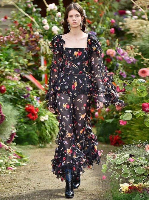 Square-neck floral-print silk-blend blouse by Rodarte