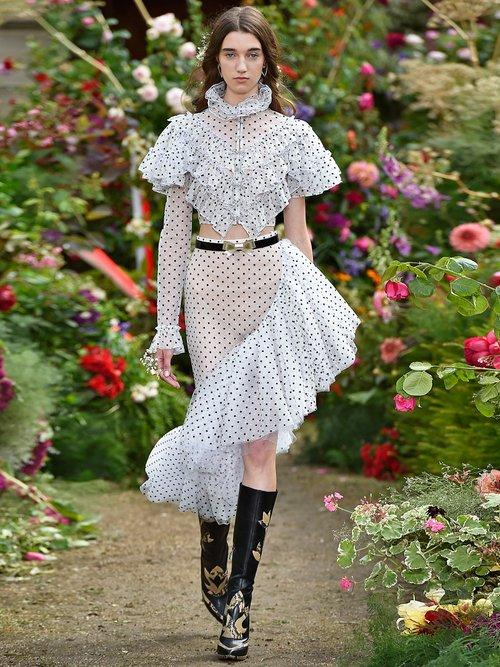 Flocked polka-dot ruffle blouse by Rodarte