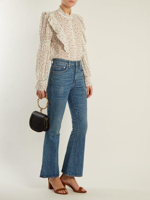 Star-print silk-blend blouse by Rebecca Taylor