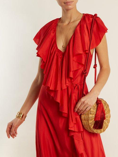 Photo of Callela Ruffled Silk Wrap Dress by Loup Charmant - shop Loup Charmant dresses online sales