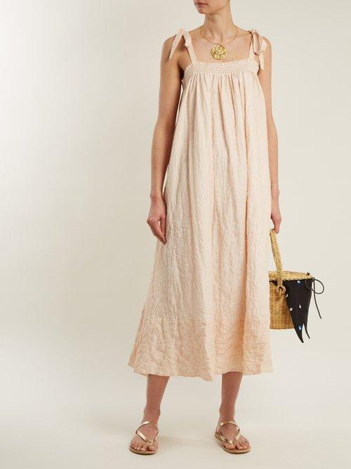 Bastille square-neck striped cotton dress by Loup Charmant