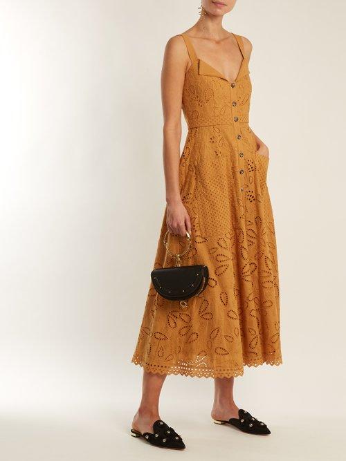 Fara broderie-anglaise cotton midi dress by Saloni