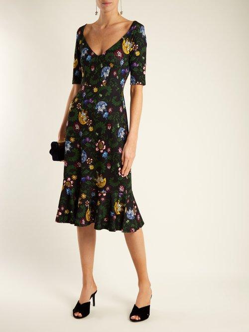 Shop Erdem Glenys floral-print jersey dress online sale