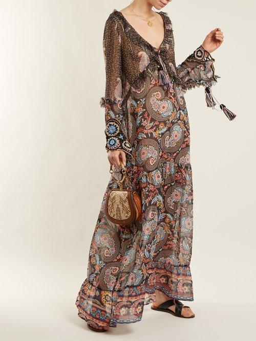 Ciclade floral-print tassel-trimmed silk dress by Anjuna