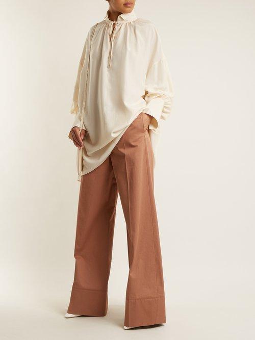 Darma point-collar silk-poplin shirt by The Row