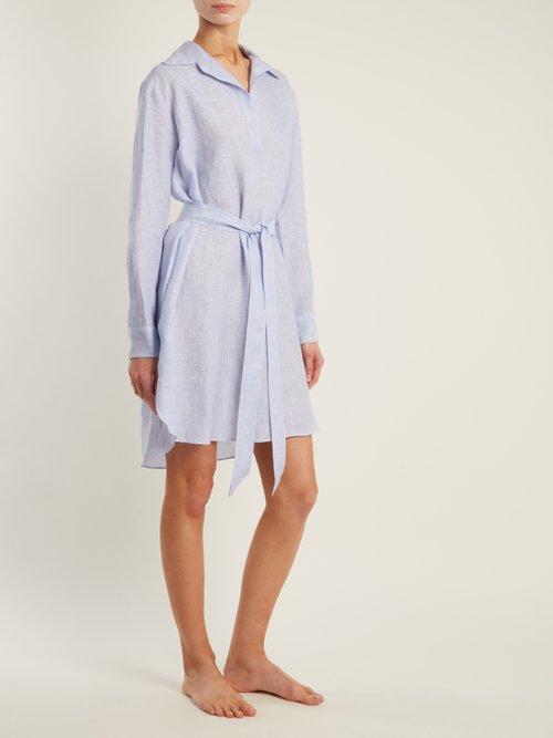 Photo of Point Collar V Neck Striped Linen Shirtdress by Pour Les Femmes - shop Pour Les Femmes dresses online sales