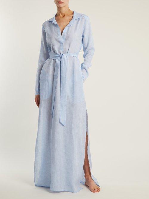Tie Waist Raw Cotton Night Dress by Pour Les Femmes