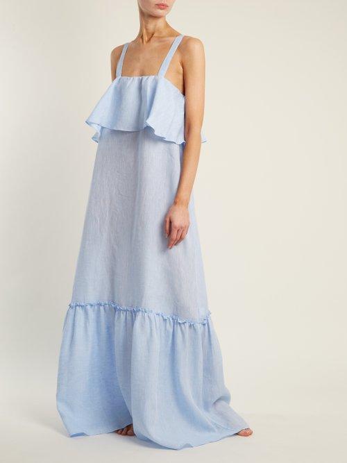 Fluted Panel Raw Cotton Maxi Dress by Pour Les Femmes
