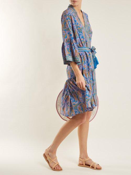 Caroline paisley-print silk wrap dress by Figue