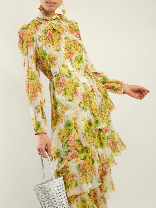 Golden Floral Print Silk Dress by Zimmermann