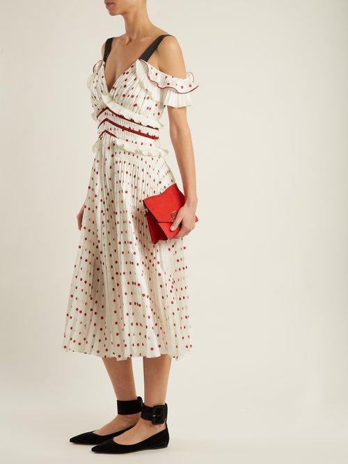 Polka-dot pleated dress by Self-Portrait