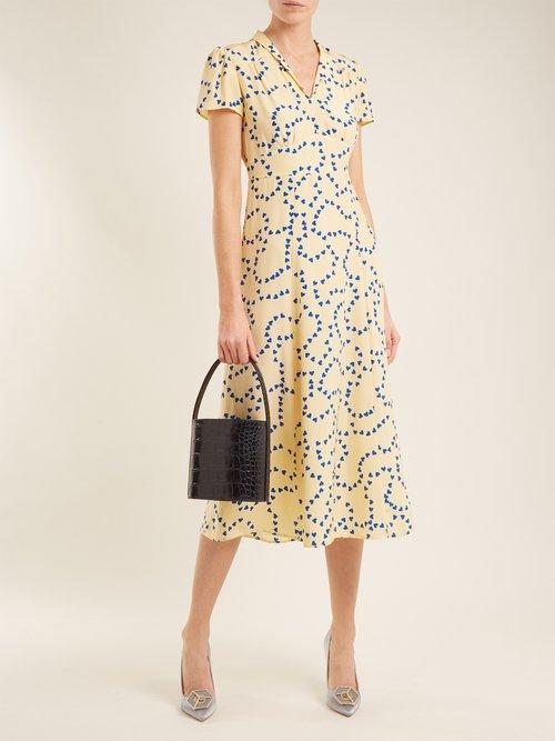 Morgan Heart Print Silk Long Dress by Hvn