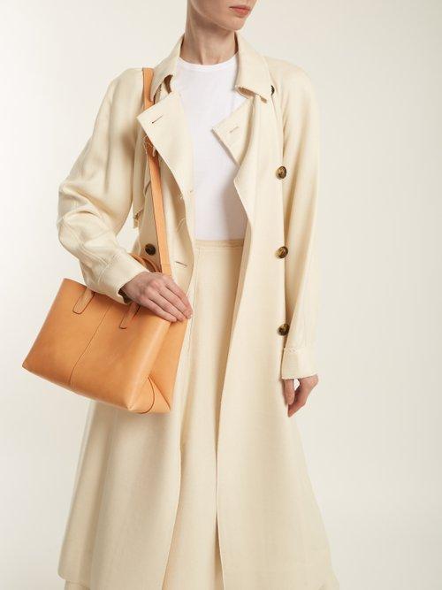 Light-pink lined folded leather bag by Mansur Gavriel