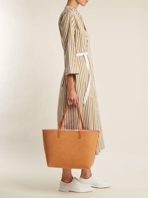 Photo of Light-pink lined large leather tote bag by Mansur Gavriel - shop Mansur Gavriel handbags sales