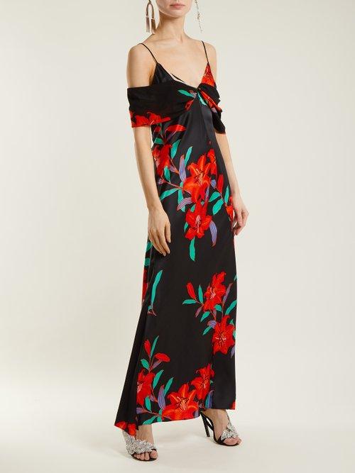 Argos Floral Print Silk Satin Dress by Diane Von Furstenberg