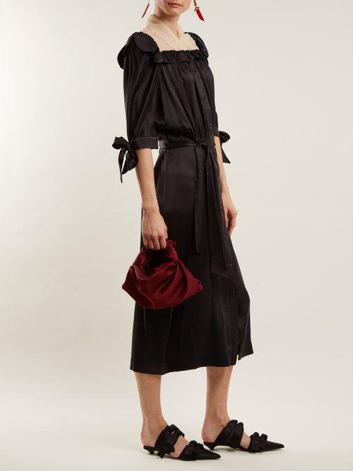 Ruffle-detailed satin dress by Simone Rocha