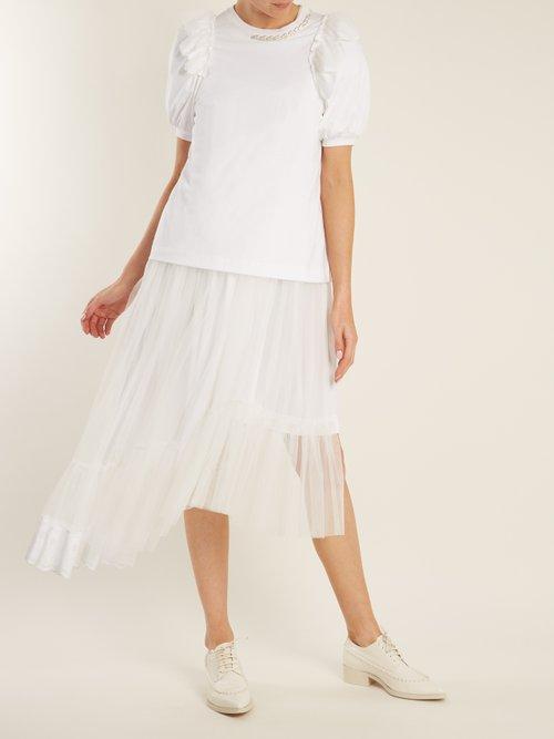 Embellished-neckline cotton-jersey T-shirt by Simone Rocha