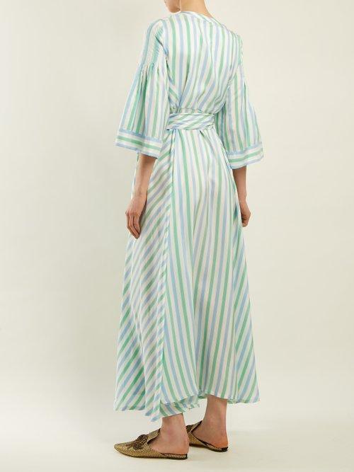 Shop Thierry Colson Sultane striped silk maxi dress online sale