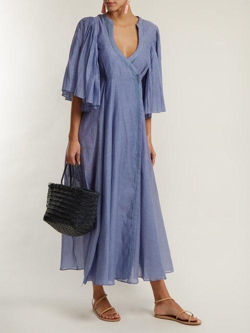 Shop Thierry Colson Sultane cotton and silk-blend wrap dress online sale