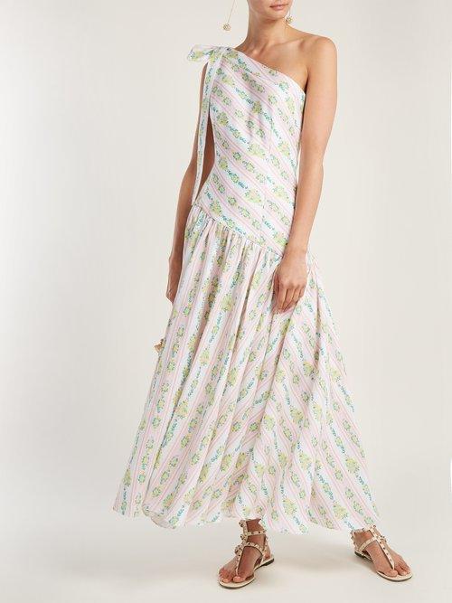 Simone One Shoulder Linen Maxi Dress by Emilia Wickstead
