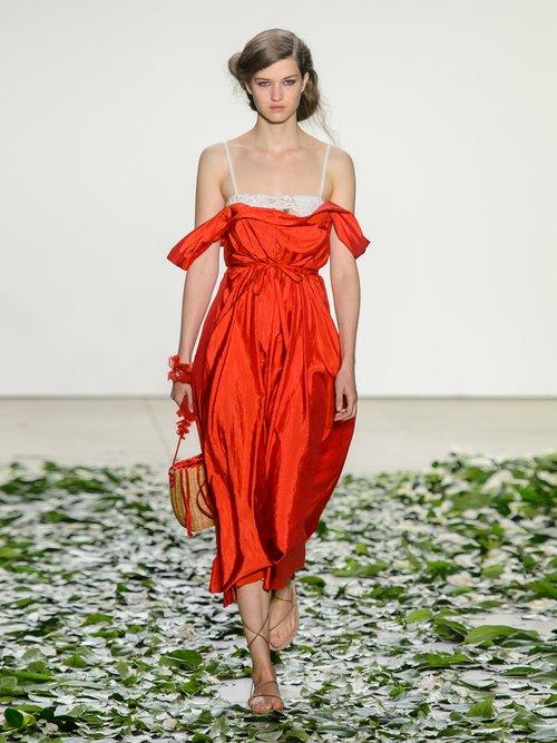 Davi Square Neck Taffeta Dress by Brock Collection