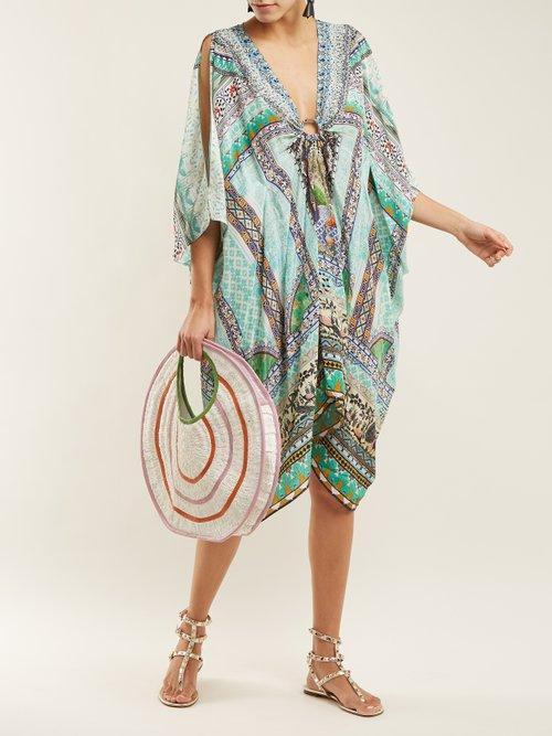 V Neck Printed Silk Chiffon Kimono Dress by Camilla