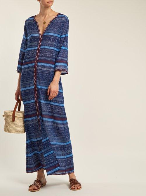 Brenda Geometric Sea Print Cotton Dress by Le Sirenuse, Positano