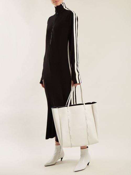High-neck side-striped dress by Norma Kamali