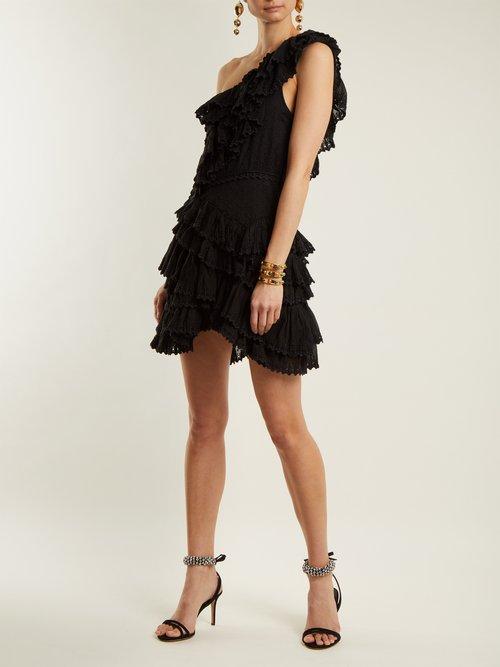 Zeller one-shoulder broderie-anglaise cotton dress by Isabel Marant