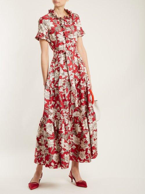 Long & Sassy Lilium Print Silk Twill Dress by La Doublej