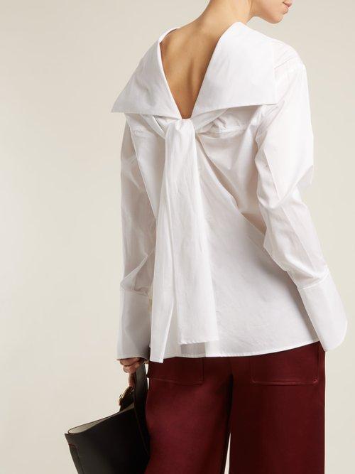 Elsie asymmetric-neck cotton shirt by Joseph