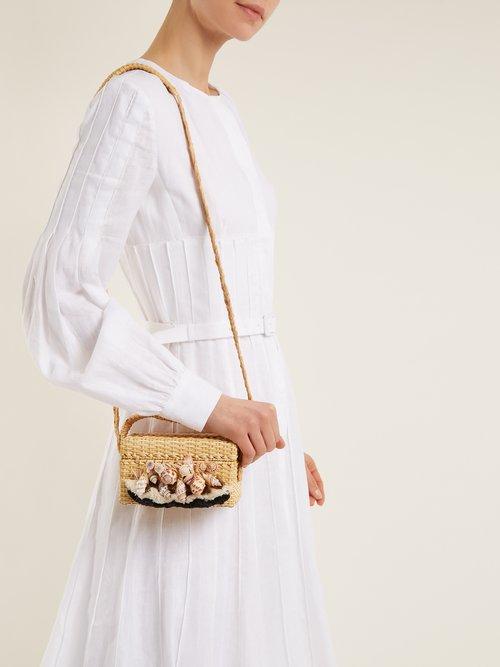 Iris seashell-embellished straw box bag by Sanayi 313
