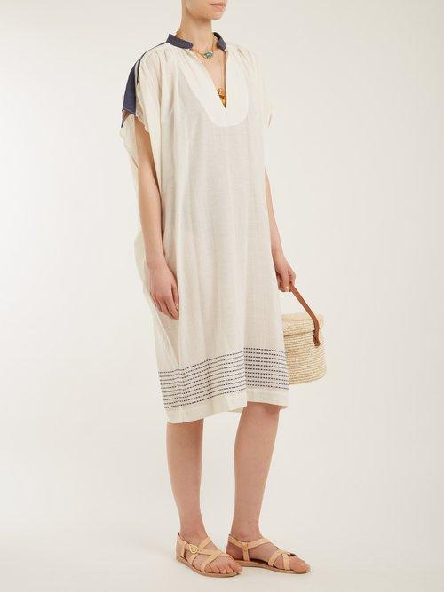 Jana Mandarin Collar Cotton Blend Dress by Su