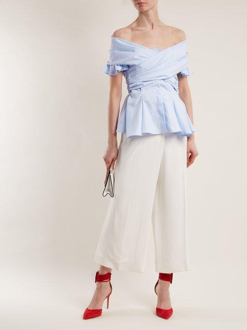 Photo of Off The Shoulder Cotton Blend Twill Wrap Top by Jonathan Simkhai - shop Jonathan Simkhai online sales