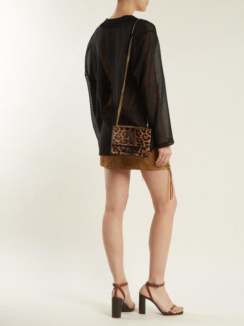 Sunset small leopard-print calf-hair bag by Saint Laurent