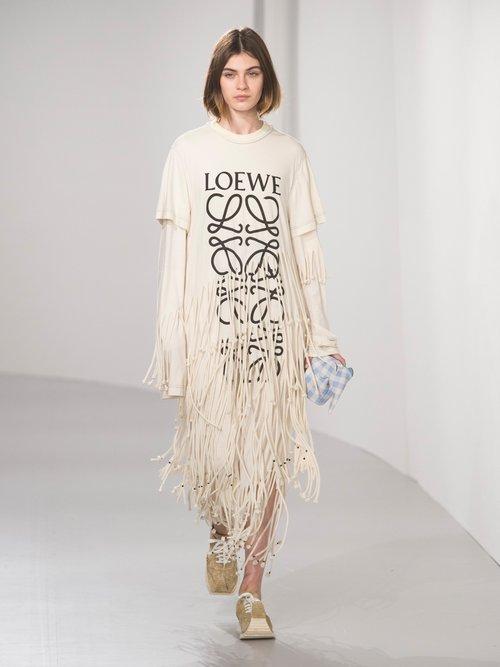 Anagram Logo Print Cotton And Silk Blend Dress by Loewe