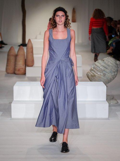 Mika asymmetric pinstriped cotton dress by Molly Goddard