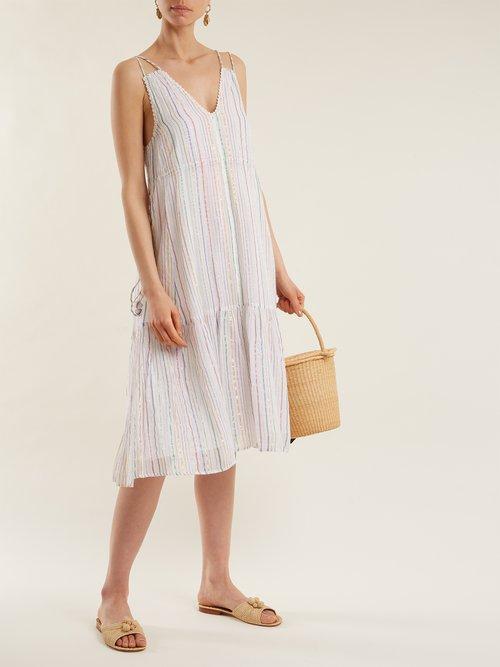 Daphne metallic-striped cotton-blend midi dress by Apiece Apart
