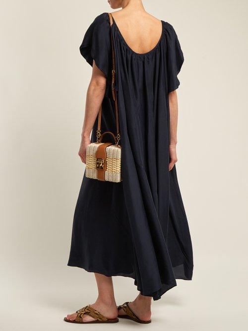 Shop Loup Charmant Hydrus gathered silk dress online sale