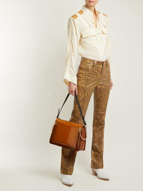 Mandarin-collar patch-pocket blouse by