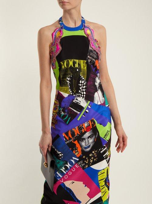 Vogue-print halterneck gown by Versace