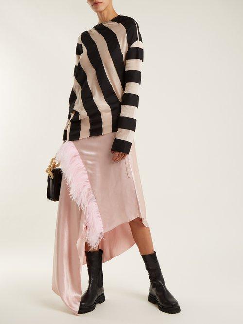 Asymmetric-hem striped cotton-blend top by Marques'Almeida