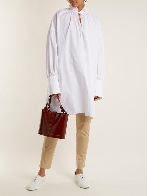 Darma tie-neck cotton-poplin shirt by The Row