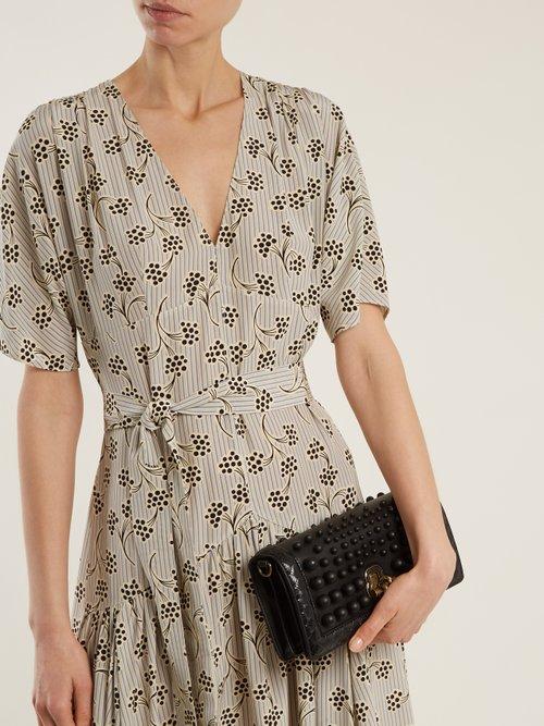 Knot bead-embellished leather clutch by Bottega Veneta