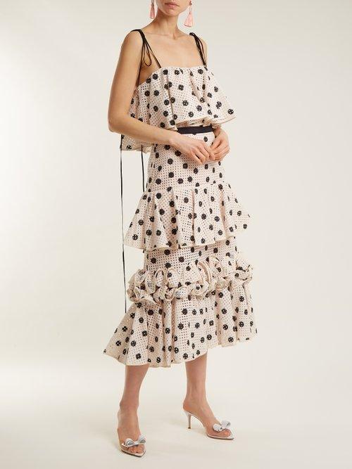 Polka-dot eyelet-lace dress by Johanna Ortiz